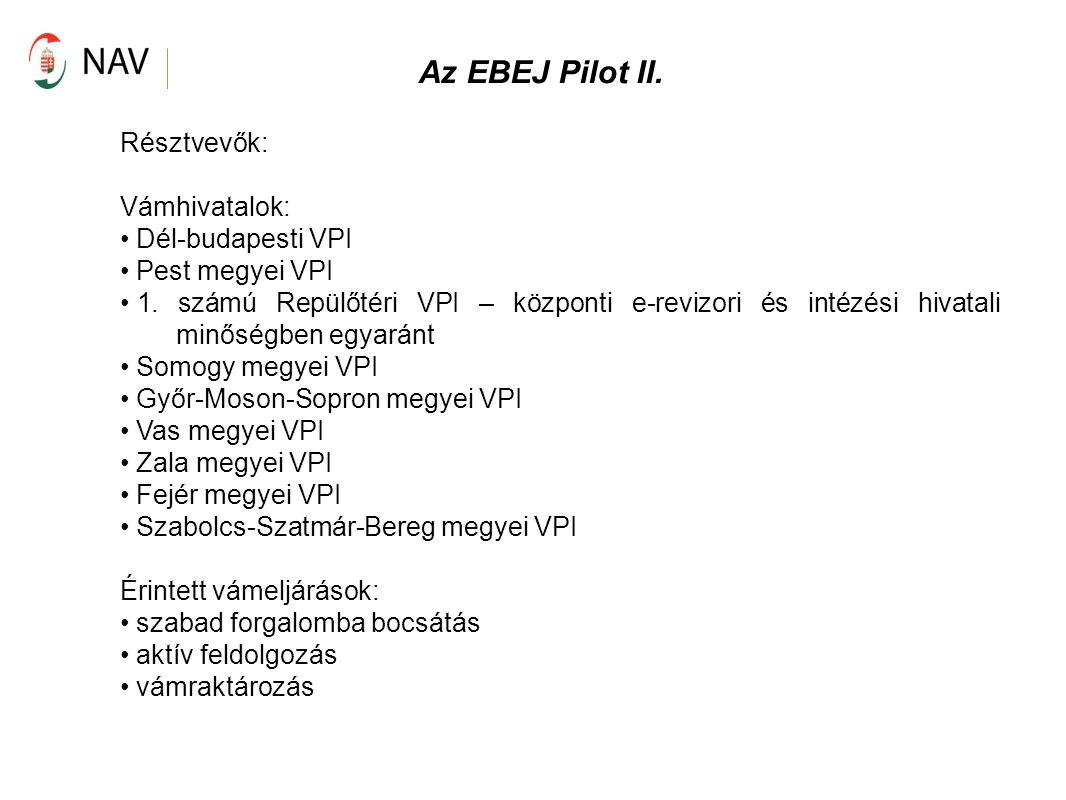 Az EBEJ Pilot II. Résztvevők: Vámhivatalok: Dél-budapesti VPI