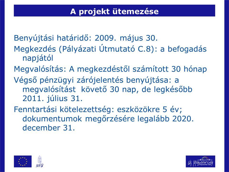 A projekt ütemezése Benyújtási határidő: 2009. május 30. Megkezdés (Pályázati Útmutató C.8): a befogadás napjától.