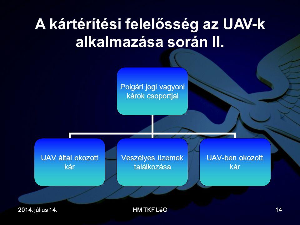 A kártérítési felelősség az UAV-k alkalmazása során II.