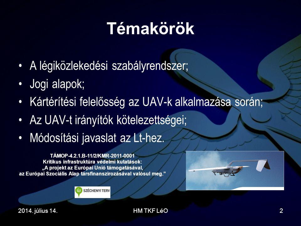 Témakörök A légiközlekedési szabályrendszer; Jogi alapok;