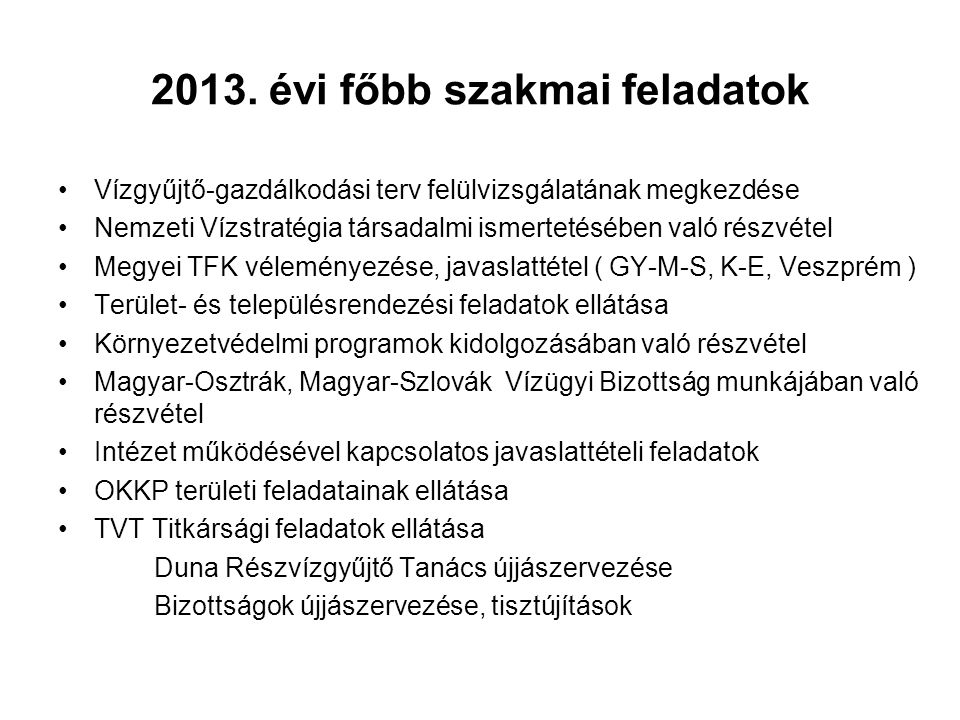 2013. évi főbb szakmai feladatok