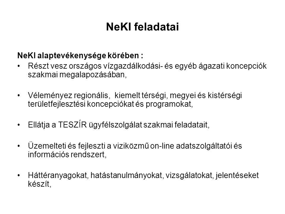 NeKI feladatai NeKI alaptevékenysége körében :