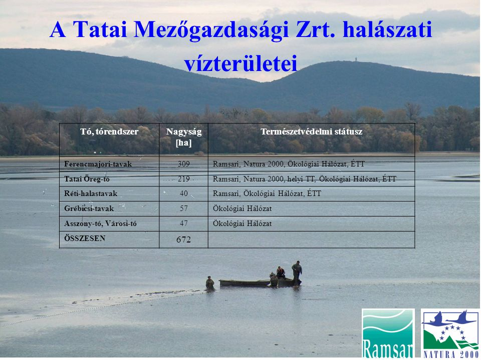A Tatai Mezőgazdasági Zrt. halászati vízterületei