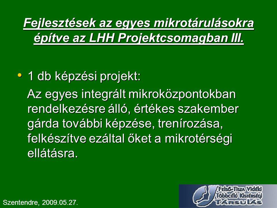 Fejlesztések az egyes mikrotárulásokra építve az LHH Projektcsomagban III.