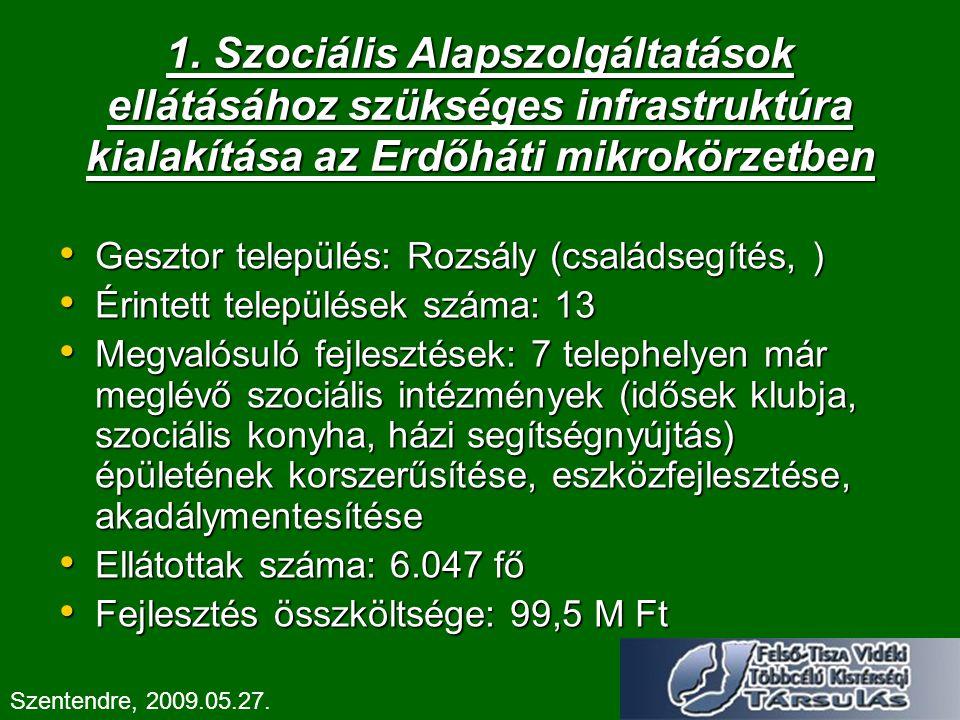 1. Szociális Alapszolgáltatások ellátásához szükséges infrastruktúra kialakítása az Erdőháti mikrokörzetben