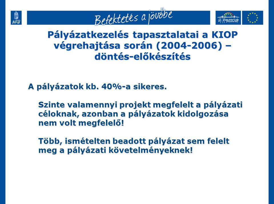Pályázatkezelés tapasztalatai a KIOP végrehajtása során (2004-2006) – döntés-előkészítés