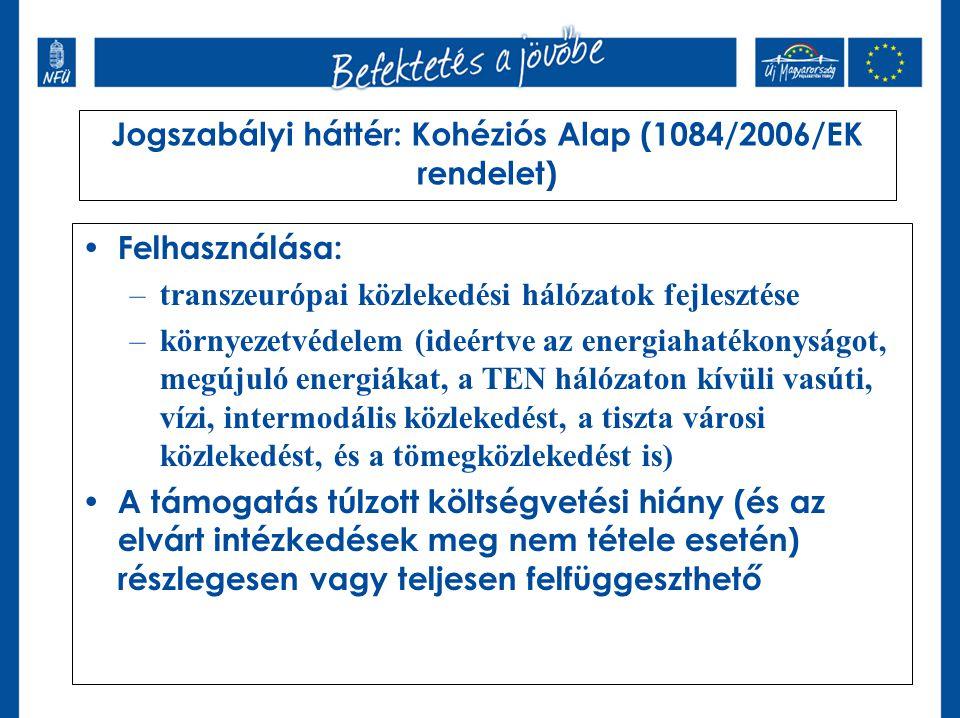Jogszabályi háttér: Kohéziós Alap (1084/2006/EK rendelet)