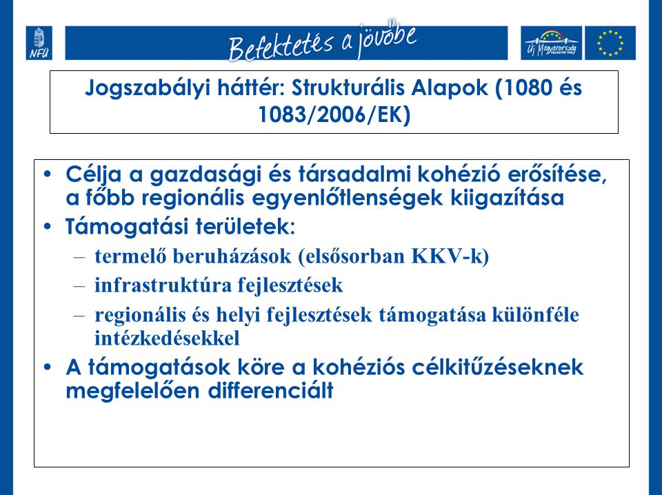 Jogszabályi háttér: Strukturális Alapok (1080 és 1083/2006/EK)