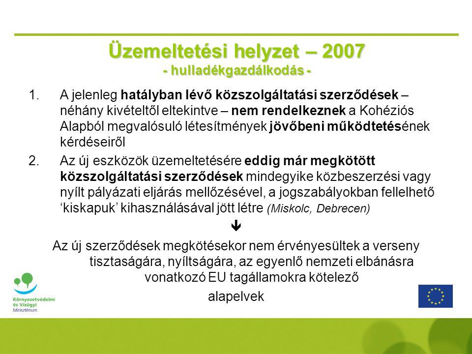 Üzemeltetési helyzet – 2007 - hulladékgazdálkodás -