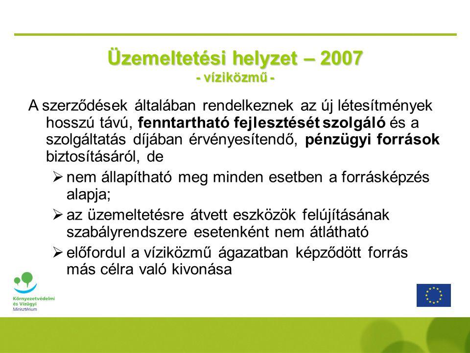 Üzemeltetési helyzet – 2007 - víziközmű -