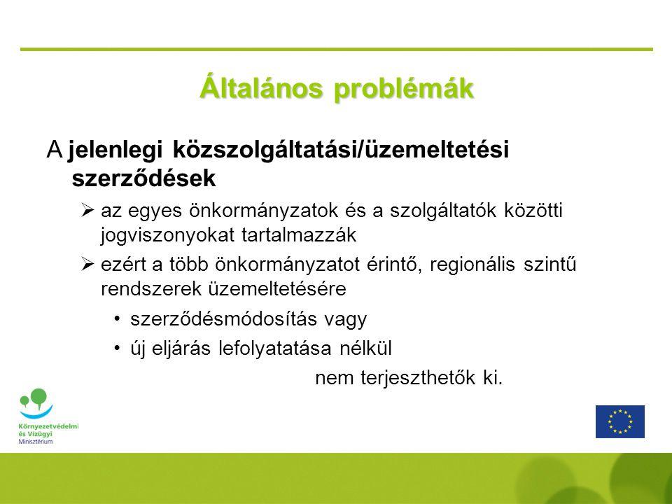 Általános problémák A jelenlegi közszolgáltatási/üzemeltetési szerződések.