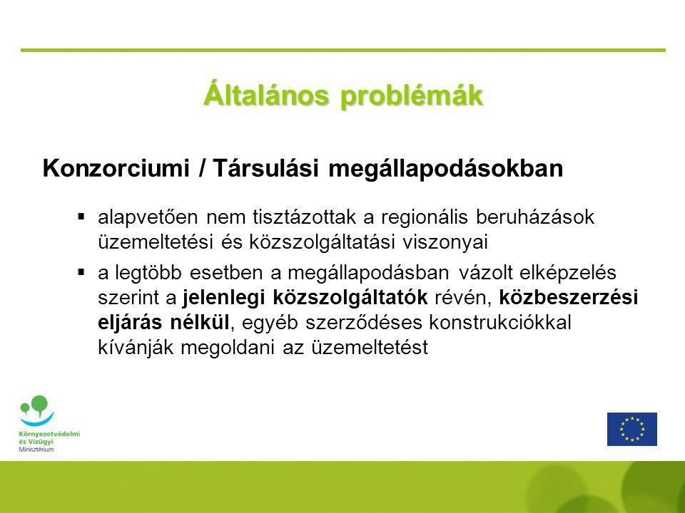 Általános problémák Konzorciumi / Társulási megállapodásokban