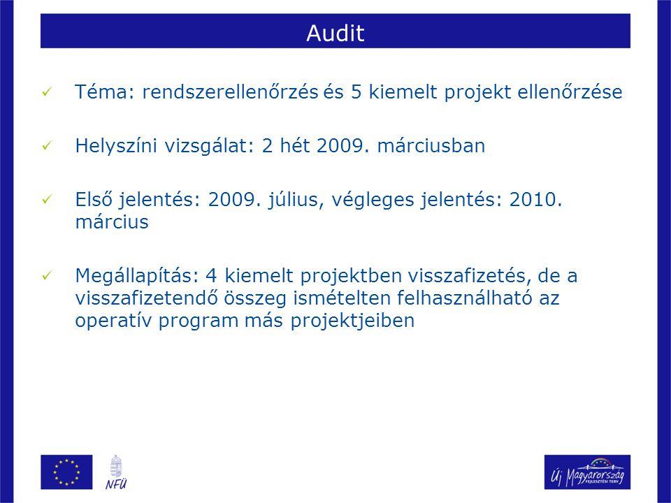 Audit Téma: rendszerellenőrzés és 5 kiemelt projekt ellenőrzése