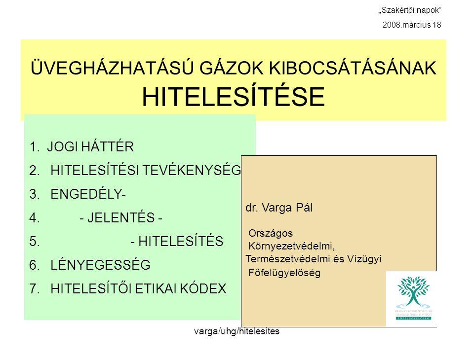 ÜVEGHÁZHATÁSÚ GÁZOK KIBOCSÁTÁSÁNAK HITELESÍTÉSE