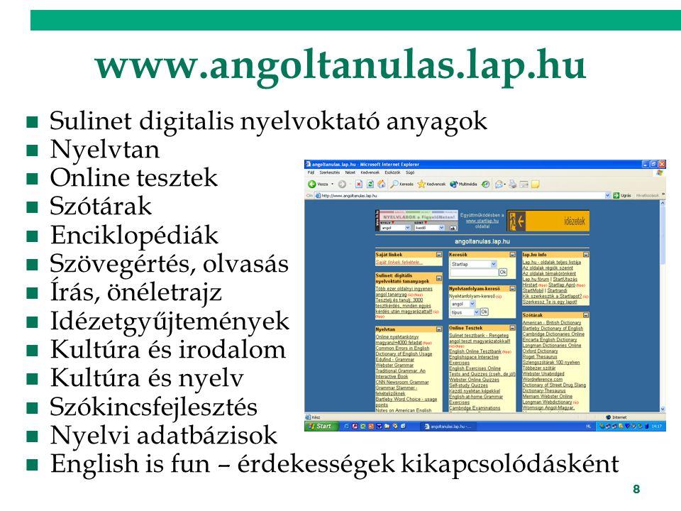 www.angoltanulas.lap.hu Sulinet digitalis nyelvoktató anyagok Nyelvtan