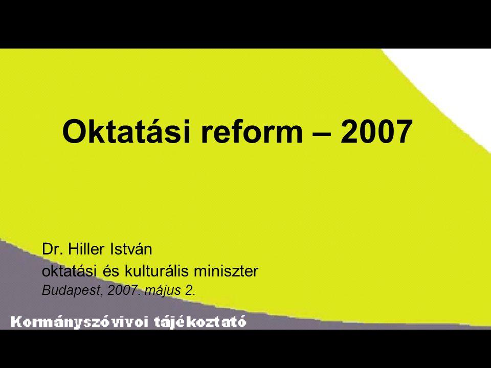 Oktatási reform – 2007 Dr. Hiller István