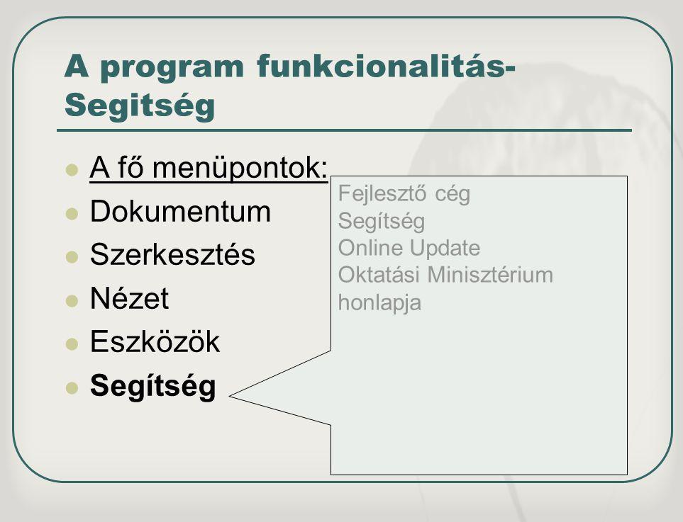 A program funkcionalitás-Segitség