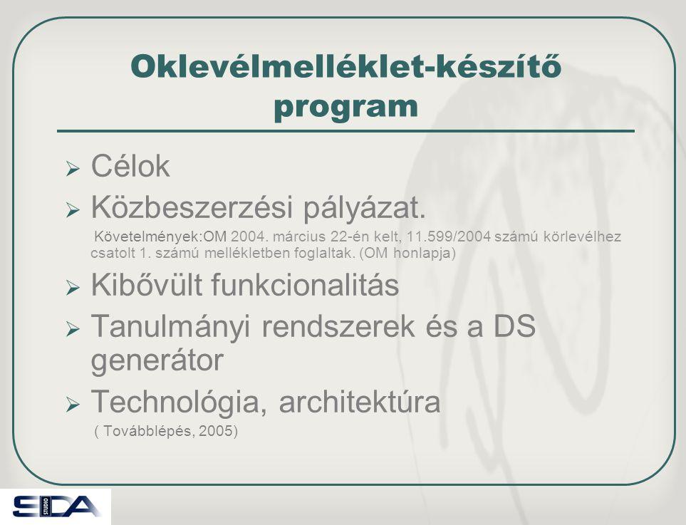 Oklevélmelléklet-készítő program