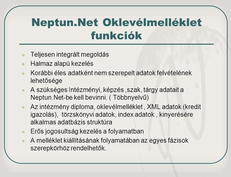 Neptun.Net Oklevélmelléklet funkciók