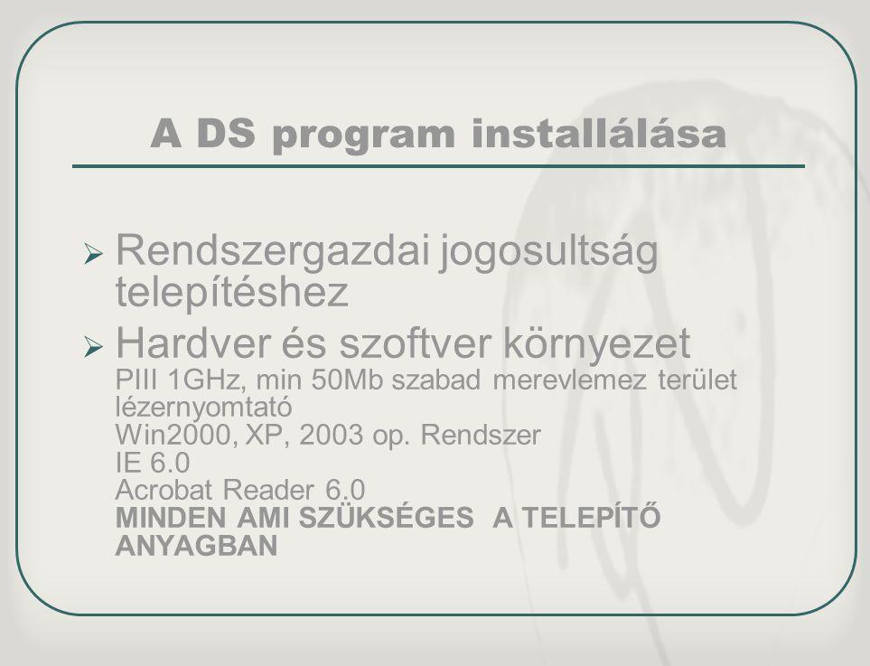 A DS program installálása
