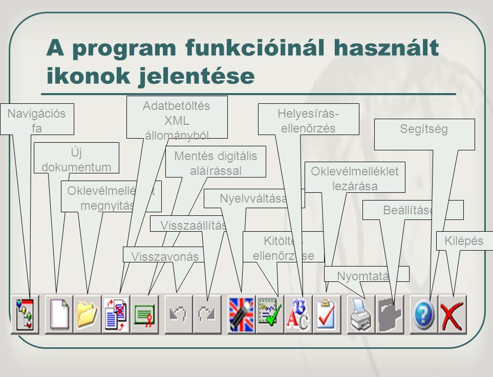 A program funkcióinál használt ikonok jelentése