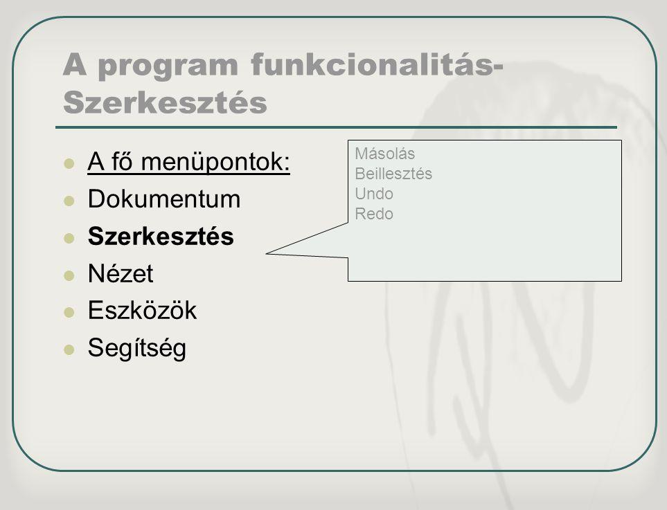A program funkcionalitás-Szerkesztés
