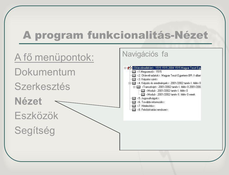 A program funkcionalitás-Nézet
