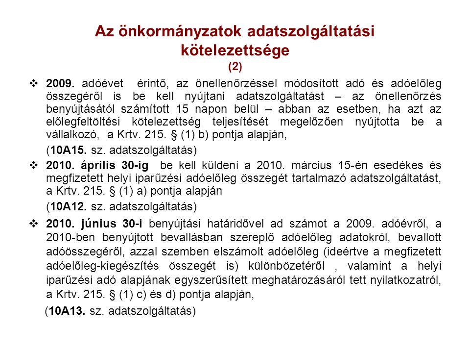 Az önkormányzatok adatszolgáltatási kötelezettsége (2)