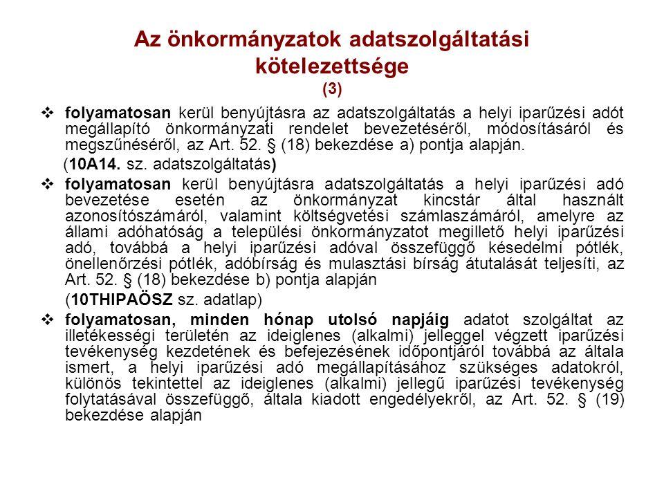 Az önkormányzatok adatszolgáltatási kötelezettsége (3)