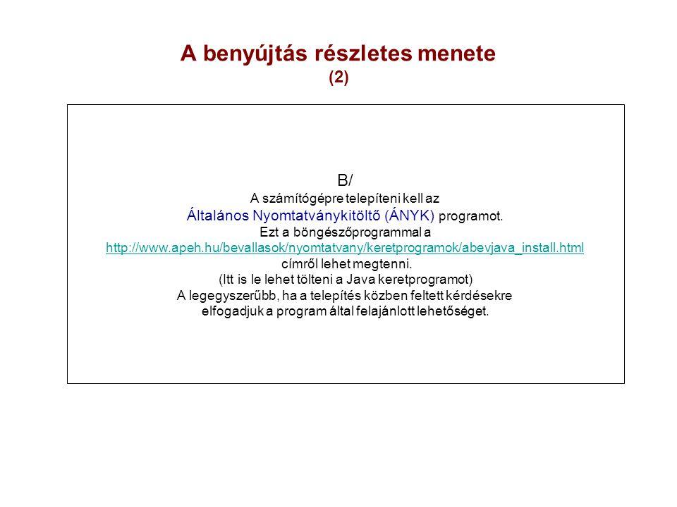 A benyújtás részletes menete (2)