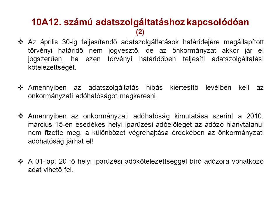 10A12. számú adatszolgáltatáshoz kapcsolódóan (2)