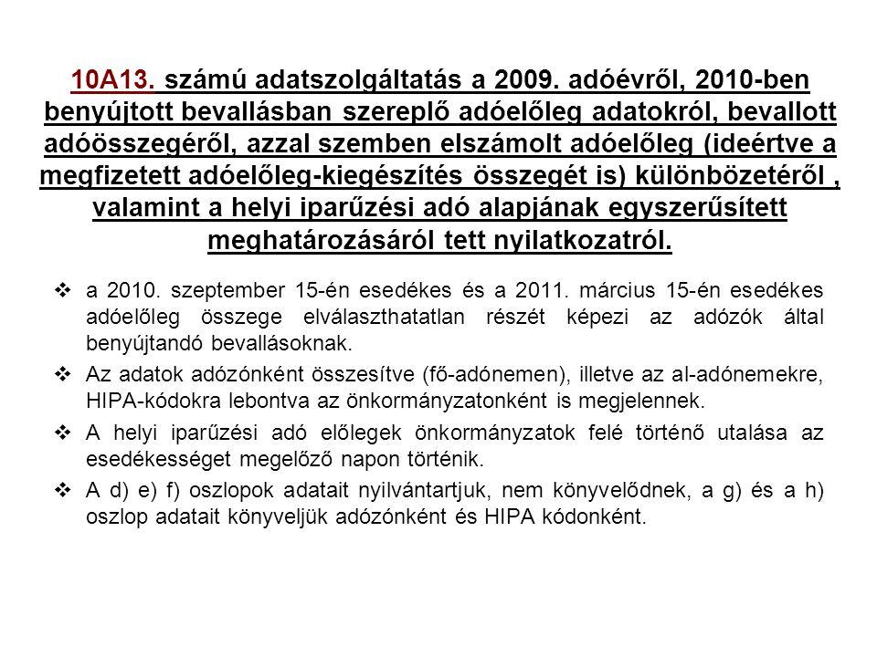 10A13. számú adatszolgáltatás a 2009