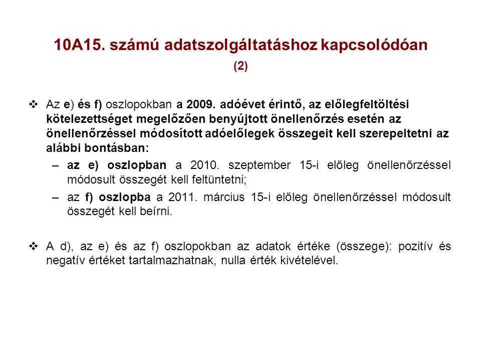 10A15. számú adatszolgáltatáshoz kapcsolódóan (2)