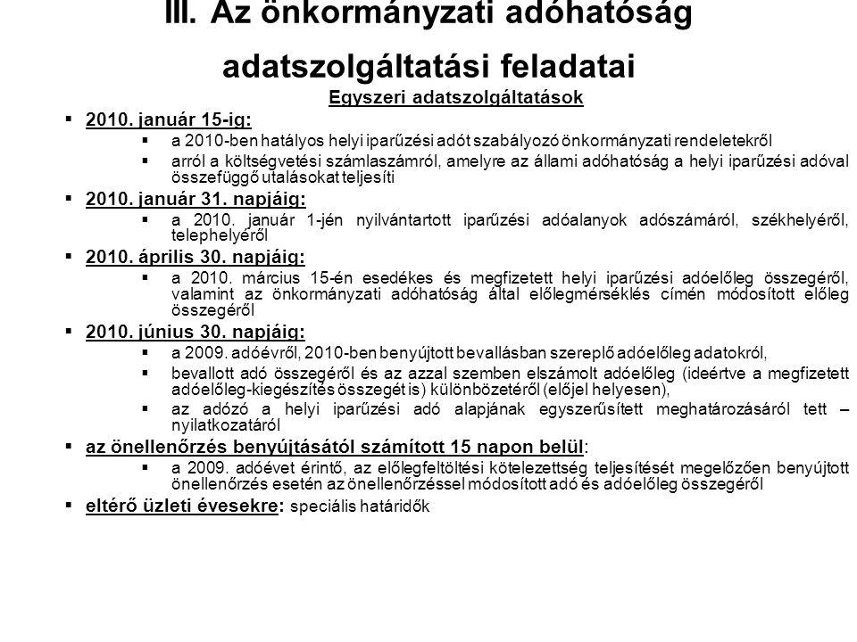 III. Az önkormányzati adóhatóság adatszolgáltatási feladatai