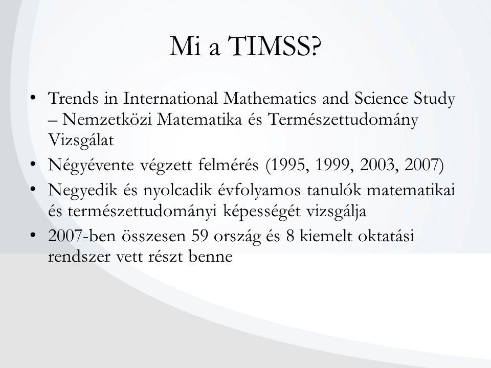 Mi a TIMSS Trends in International Mathematics and Science Study – Nemzetközi Matematika és Természettudomány Vizsgálat.