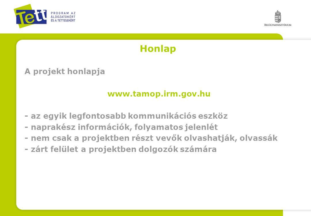 Honlap A projekt honlapja www.tamop.irm.gov.hu