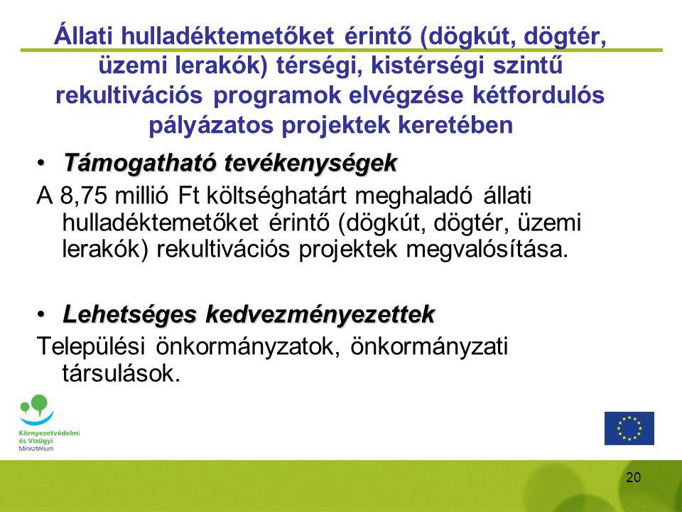 Állati hulladéktemetőket érintő (dögkút, dögtér, üzemi lerakók) térségi, kistérségi szintű rekultivációs programok elvégzése kétfordulós pályázatos projektek keretében