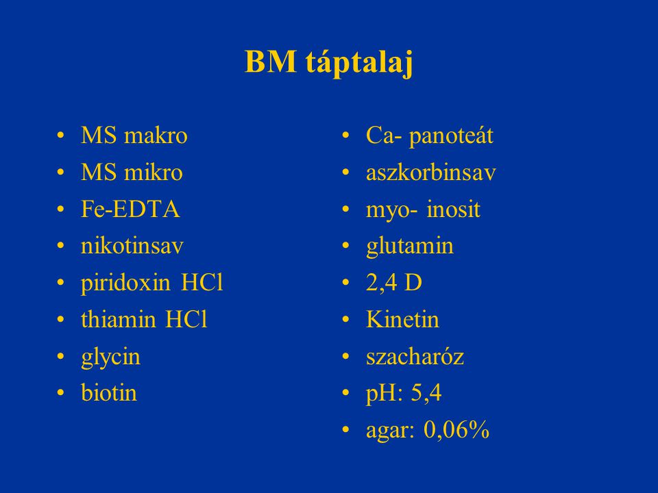 BM táptalaj MS makro MS mikro Fe-EDTA nikotinsav piridoxin HCl