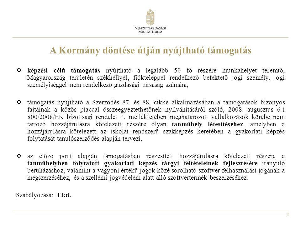 A Kormány döntése útján nyújtható támogatás