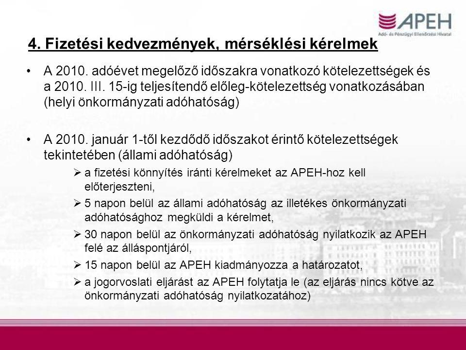 4. Fizetési kedvezmények, mérséklési kérelmek