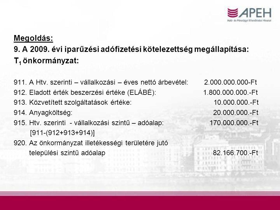 9. A 2009. évi iparűzési adófizetési kötelezettség megállapítása: