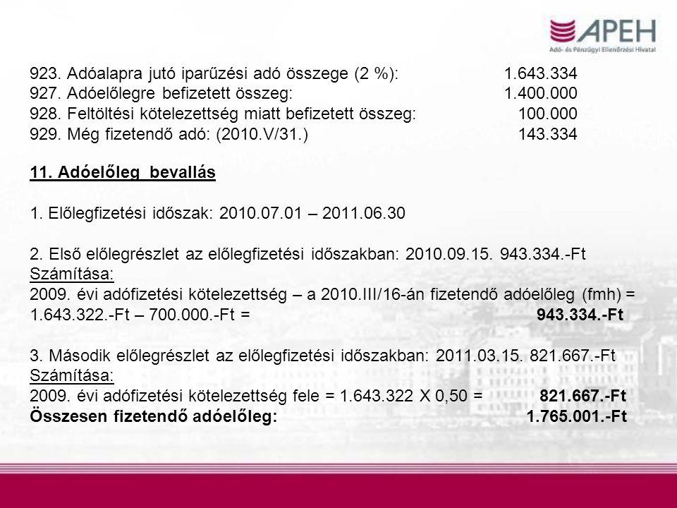 923. Adóalapra jutó iparűzési adó összege (2 %): 1.643.334