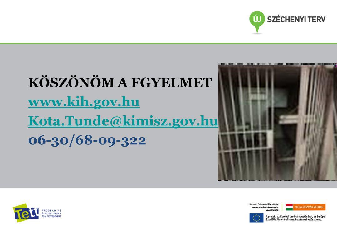 KÖSZÖNÖM A FGYELMET www.kih.gov.hu Kota.Tunde@kimisz.gov.hu 06-30/68-09-322