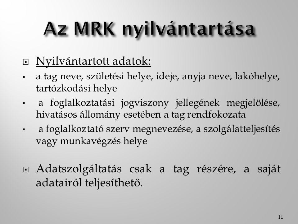 Az MRK nyilvántartása Nyilvántartott adatok: