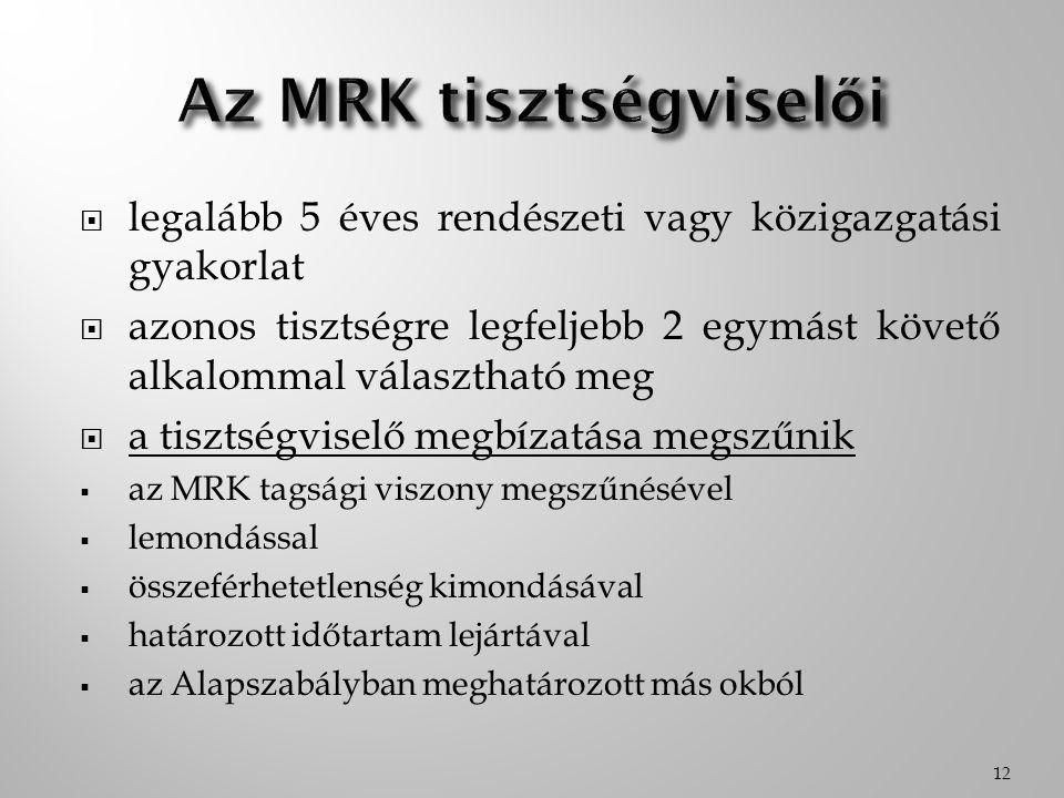 Az MRK tisztségviselői
