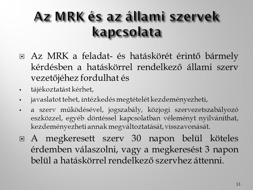 Az MRK és az állami szervek kapcsolata
