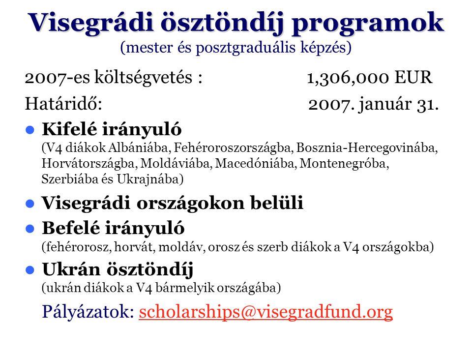Visegrádi ösztöndíj programok (mester és posztgraduális képzés)