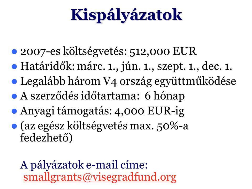 Kispályázatok 2007-es költségvetés: 512,000 EUR