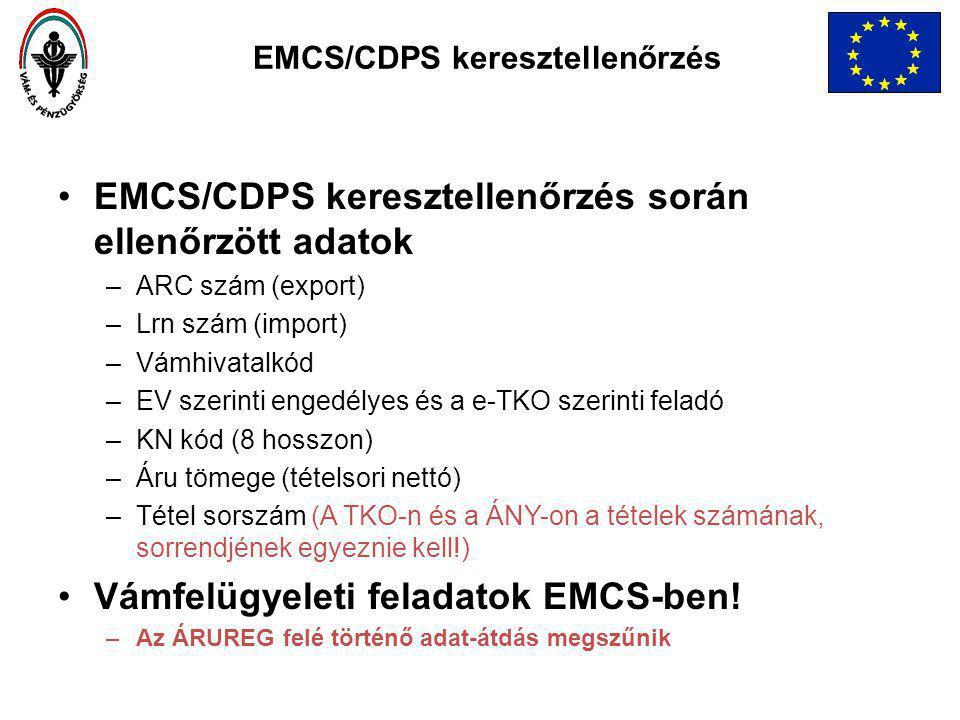 EMCS/CDPS keresztellenőrzés