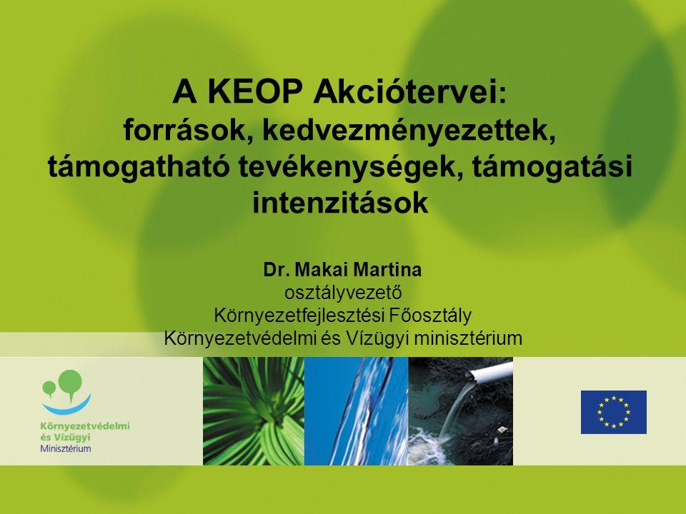 A KEOP Akciótervei: források, kedvezményezettek, támogatható tevékenységek, támogatási intenzitások